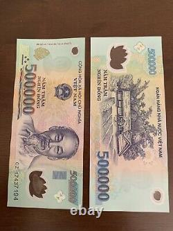 1,000,000 VIETNAM DONG 2 X 500000 500k Vnd Banknotes Bank Note Vietnamese Cir Z