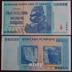 1/10th Bundle (10 Pcs) Zimbabwe 100 Trillion Banknotes Unc 2008 Aa