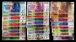 1 Dollar to 100 Trillion Zimbabwe Dollars Full Complete Set of 27 Banknotes 2008