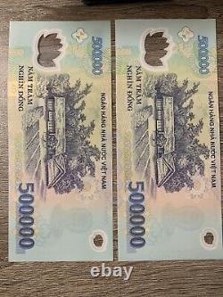 1 Million Vietnam Dong. 2 x 500000 Banknotes. 2 Cir Vnd Bills. 500,000 Notes Z H