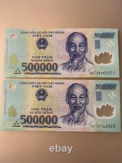 1 Million Vietnamese Dong. 2 X 500,000 Dong Banknotes. 2 Cir Notes. Vnd Z
