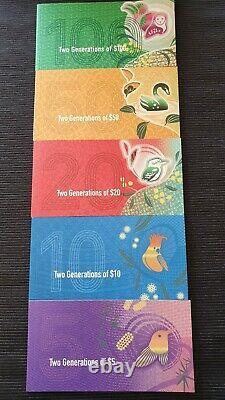 $100 $50 $20 $10 $5 SET OF 5 TWO GENERATIONS RBA FOLDERS x 10 UNC Banknotes