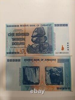 100 Trillion Zimbabwe Authentic Banknotes 2008 Series AA