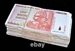 100 x Zimbabwe 50 Billion Dollar banknotes-AA/AB 2008/circulated currency bundle