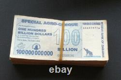 150 X 100 Billion Special Agro-Cheques Zimbabwe Dollar Notes