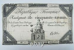 1792 Frankreich 50 Livres Orginal Geldschein Banknote 20cm Französische Revoluti