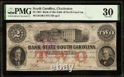 1861 $2 Two Dollar South Carolina Bank Note Large Currency Paper Money Pmg 30
