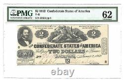 1862 $2 Confederate Currency, Pmg Uncirculated 62 Banknote, T-42