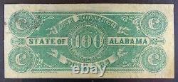 1864 Confederate State of Alabama $100 Banknote