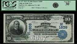 1902 $10 National Bank Note Jefferson City, MO FR. 627 Charter 1809 PCGS 30