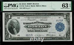 1918 $1 Federal Reserve Bank Note Boston FR-708 PMG 63 EPQ Serial A131A