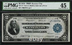 1918 $2 Federal Reserve Bank Note Kansas City Battleship FR-774 Graded PMG 45