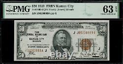 1929 $50 Federal Reserve Bank Note Kansas City FR. 1880-J Graded PMG 63 EPQ