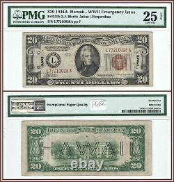 1934A Hawaii $20 WWII Emergency Issue Bank Note PMG 25 EPQ Very Fine FRN