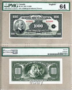 1935 $1000 Bank of Canada English PMG CHOICE UNC64, CCCS GEM65. Key Note
