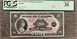 1935 Bank of Canada $20 Princess Elizabeth Pink Note Large Seal PCGS VF20