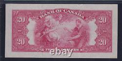 1935 Bank of Canada $20 Princess Elizabeth Pink Note Large Seal PMG AU53 EPQ