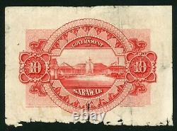 1937 Sarawak $10 Dollars Charles Vyner Brooke British Borneo VERY RARE