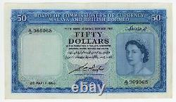 1953 Malaya British Borneo Singapore $50 Dollars 969068 Rare