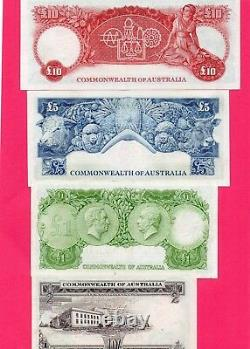 1954/61commonwealth Of Australia 4 Notes Set Coombs/wilson 10/-, I, 5, And10 Pounds