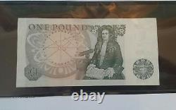 1978-84 £1 Pound Great Britain ObverseSir Isaac NewtonSolid Serial 777777 UNC