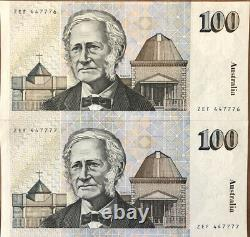 1985 Australia $100 Fraser/Cole One Hundred Dollar Consecutive Unc Notes R609