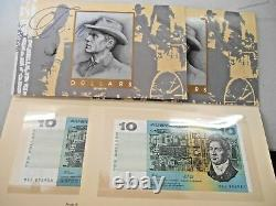 1993 $10 FIRST POLYMER & LAST PAPER $10 BANK NOTES IN FOLDER NPA Con Pair 2