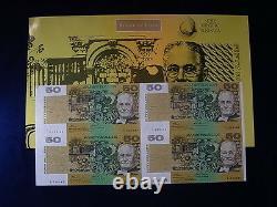 (1994) $50 Uncut Block of 4 Fraser/Evans. Black SerialsA, B, C, D 000485