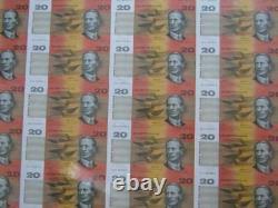 1995 Fraser/Evans Uncut $20 Sheet Australia. Only 250 issued worldwide