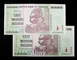 2 pcs x Zimbabwe 50 Trillion Dollars Banknotes- (100 Trillion) 2008/AA / UNC
