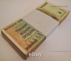 20 Billion Zimbabwe Dollars x 100 Banknotes AA AB 2008 Bundle Currency 100PCS