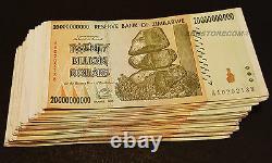 20 Billion Zimbabwe Dollars x 50 Banknotes AA AB 2008 ½ Bundle 50PCS Currency