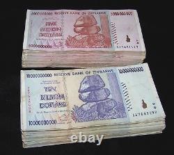 200 Zimbabwe Banknotes- 100 x 5 & 10 Billion Dollars-2 money currency bundles