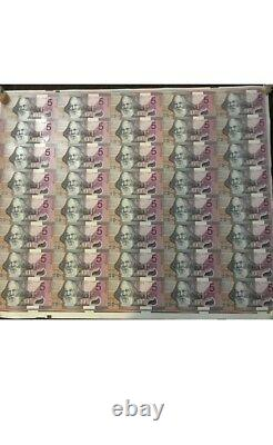 2001 Australia federation 5 Dollars polymers Uncut Sheet of 40pc banknote