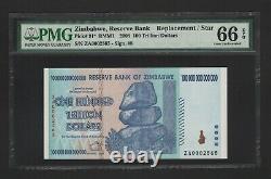 2008 ZIMBABWE REPLACEMENT ZA 0002565 BANKNOTE 100 TRILLION PMG 66 UNC P91r