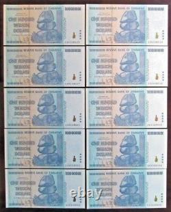 2008 Zimbabwe One Hundred Trillion Dollars Single Banknote, UNC, Authentic