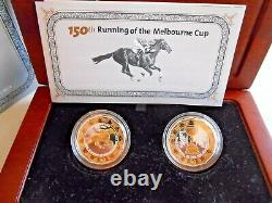 2010 150th RUNNING OF THE MELBOURNE CUP GOLD PLATED SILVER PROOF 2 COIN SET