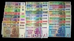 27 Zimbabwe Banknotes FULL Set, $1 dollar- $100 Trillion dollars-paper currency