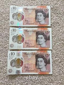 3 X Consecutive Low Numbers New £10 Notes AA01 Serial Numbers Uncirculated