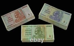 300 Zimbabwe Banknotes-100 x 5, 10, 20 Billion AA AB 2008 3 currency bundles