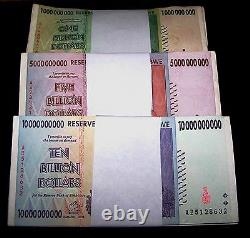 300 x Zimbabwe banknotes-100 x 1,5, &10 Billion Dollars- paper currency bundles