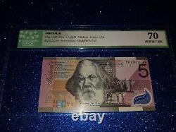 $5 dollars note commemorative 2001 FIRST PREFIX'AA01' GRADED'PERFECT UNC 70'