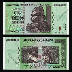 50 Trillion Zimbabwe Dollars Banknote Uncirculated UNC Low Serial #'s Authentic