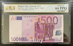 500 EURO European Union 2002 Banknote GERMANY P14x GRADED 64 UNC Trichet