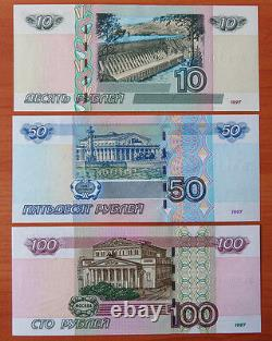 A Complete set of Russian Banknotes from 10 rub to 5000 rubles UNC + 3 booklets