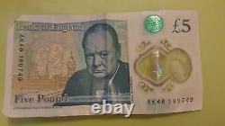 AK46 Very RARE £5 Five Pound Note Bank of England AK46 250 240