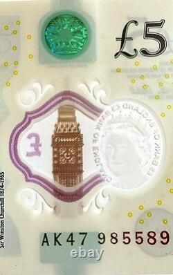 AK47 985589 RADAR Number £5, RARE UNCIRCULATED Five Pound PALINDROME Note, UNC