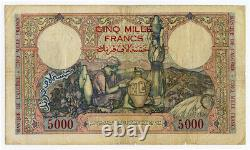 ALGERIA 1942 ISSUE 5000 FRANCS VERY RARE LARGE SIZE BANKNOTE. PICK#90a