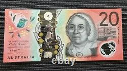 AUSTRALIA $20 2019 Lowe/Gaetjens CE19 0000000 SOLID SERIAL UNC Banknote RARE
