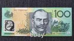 AUSTRALIA HE17 LAST PREFIX $100 2017 Lowe/Fraser UNC Banknote